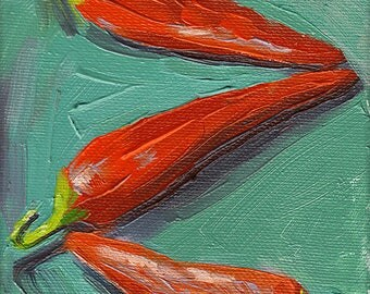 red peppers kitchen art oil painting giclee print - 5x7 - Red Hot Chili Peppers 3 - Aqua Collection