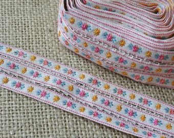 Vintage Pink Blue Yellow Floral Ribbon Trim Embroidered Triple Wide