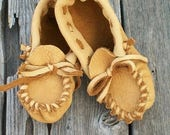ON SALE Leather toddler moccasins , Soft sole moccasins for toddlers
