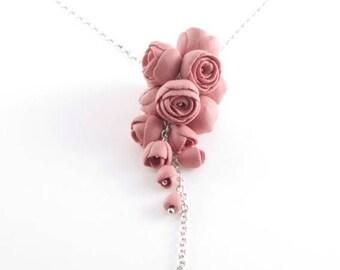 Dark Pink  Flower Statement Necklace, Sterling Silver Necklace Long Pendant with Porcelain Flowers -El Paso, Floral  Unique Artisan Jew