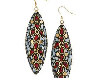 Nepal Tribal Earrings,Red White Mosaic Earrings,Mother of Pearl coral earrings,Dangle Jewelry, Chandelier earrings by Taneesi