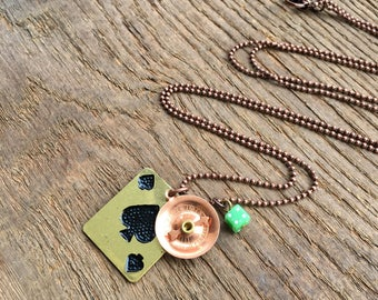 charm necklace / copper jewelry / brass necklace / THE GAMBLER