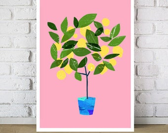 "Art for kitchen Meyer Lemon Tree Citrus Poster print  20""x27"" - archival fine art giclée print"