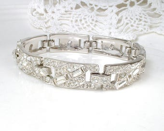 Vintage Art Deco Bracelet,Paste Rhinestone Bracelet Crystal Wide Link Wedding 1930 Silver Pave Flapper Jewelry 1920s Geometric Old Hollywood