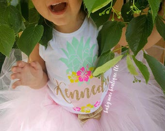 Pineapple First Birthday Outfit Girl; Name Birthday Tutu Outfit; Gerber ® Onesies ® brand; Baby Girl Name Outfit; Hibiscus Luau Pineapple