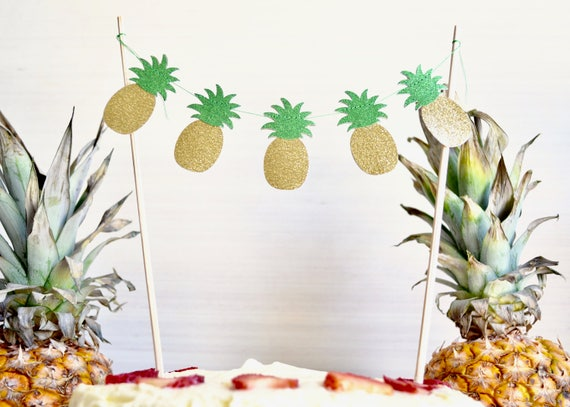 Glitter Pineapple Cake Banner - gold and green glitter pineapple dessert topper