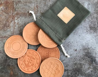 Set of 6 Leather Military Coasters w/ Bag