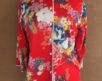 1970's - LADY WINN by Teddi - California - Red and Flowers Chinese Style Blouse