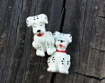Two Dalmatian Dog Pins, White Spotted Dogs, Vintage Lapel Pins, Tie Tacks, Hat Pins