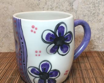 Purple and White Mug - Handmade Porcelain Mug - Purple Flowers - Purple Plumflower Mug - Handmade Ceramic Mug - Flower Mug - Coffee Mug