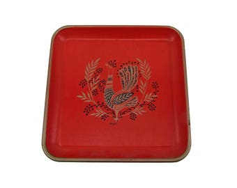 Vintage Folk Art Painted Signed Maxey Tin Square Red Rooster Serving Tray  Retro Glamping