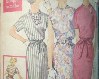 Simplicity 3780 vintage 1960's Belted Shift Dress Pattern - Proportioned Pattern -Summer Shift Dress Pattern -1960's summer -Size 16 Bust 36