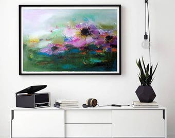 """XL floral abstract pink green feminine painting oversize floral botanical oil canvas wall art 24""""x40""""  lilac purple apple green original art"""
