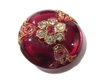 Czech Glass Button Rhinestones Gold Luster RED Glass Rhinestones VINTAGE One (1) Czech Glass Button 32mm Jewelry Fashion Supplies (L336)