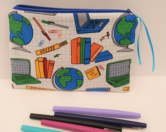 School Supply Pen Pencil Zip Pouch