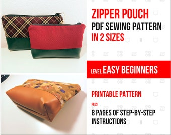 Easy PDF Sewing Pattern - Zipper Pouch - Beginner level - Instant Download - DIY gift - Make Your Own - Digital Pattern