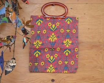 Vintage 60's Bag MOD Floral Adjustable Expandable Purse Boho Hippie