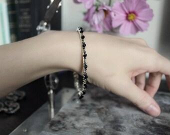 Wire Wrapped Slim Bangle Bracelet - Embroidery - Black - Gold - Silver - Winter Wedding - Fashion - February - Valentines Day - Mardi Gras