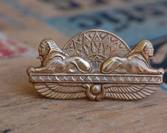 Vintage Art Deco Egyptian Revival Gilt Sphinx Brooch