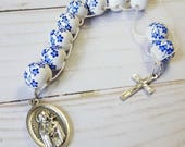 Sacrifice Beads Blue China Flowers, St Therese Good Deed Beads, Floral Ceramic Rosary Decade Catholic Wedding Gift Prayer beads Confirmation