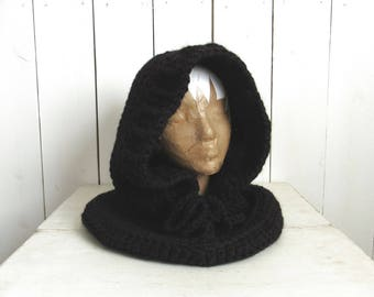 Hooded Cowl Scarf Chunky Crochet Knit Hooded Scarf Woodland Winter Gear More Color Options