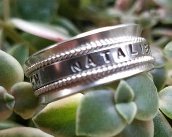 Personalized Sterling Silver Spinner Ring