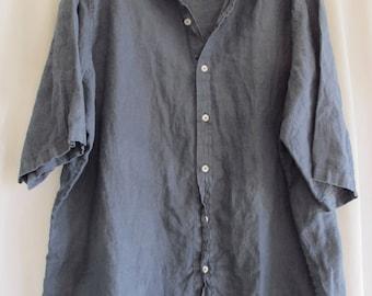 3XL Mens Blue Linen Shirt Short Sleeve Button Front Summer Wedding Shirt Loose Fit