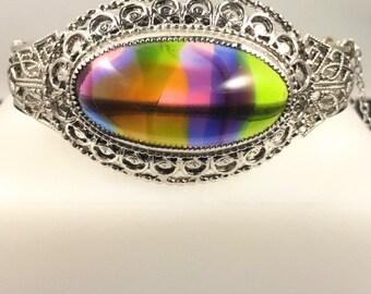 Whiting & Davis Bracelet, Vintage Jewelry, Rhinestone Bracelet, Filigree Bracelet, Large Rainbow Cabochon Vintage Bracelet Silver Tone Cuff