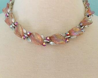 Lisner Rhinestone Necklace, Vintage Jewelry, Mid-Century Aurora Borealis Pink Leaves Vintage Necklace, Rhinestone Jewelry, Lisner Jewelry