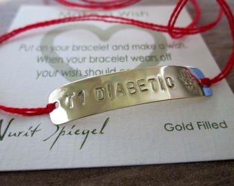 Medical String Bracelet Medical id Bracelet Diabetic Bracelet T1 Diabetic Bracelt DIABETES Medical Alert Bracelet Customized Medical Jewelry
