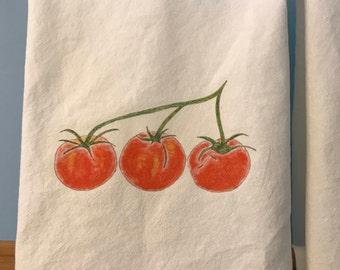 Kitchen Towel, Tomato Flour Sack, Natural Cotton Towels, Tomato Towel, House Warming Gift, Farm Stand, Gift, Kitchen Decor, Culinary Theme