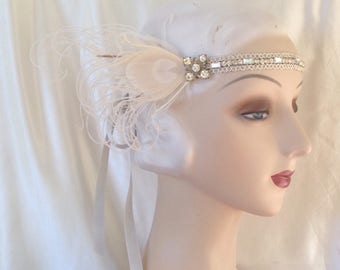 1920's style flapper headband roaring 20's wedding headdress gatsby headpiece with rhinestone band and ivory peacock feathers- ready to ship