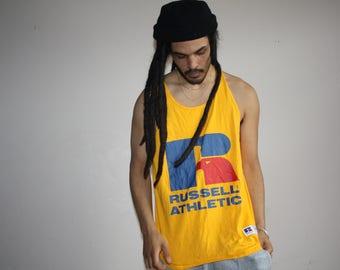1990s Russell Athletics Yellow Logo Muscle Tee Men's L Tank Top - VTG Beach Tanks - 90s Hip Hop Clothing - Mv0429