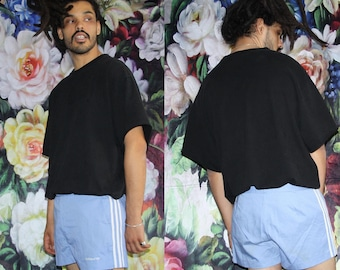Pastel Blue Vintage Rare 60s Adidas Trefoil Mod Minimalist Running Gym Athletic Trouser Shorts - 1960s Adidas Shorts - 60s Clothing - MV0578