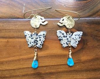 butterfly earrings, Dalmatian Jasper butterfly and metal skull earrings, Mariposa Oscura earrings