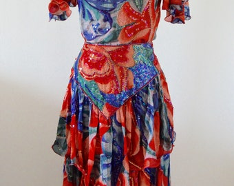 Vintage Silk set skirt Tropical Garden pattern Fully Sequined Top + Skirt // Red, Blue and White Floral Sequin Embellished Retro Glam Dress