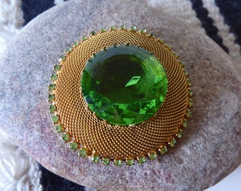 Large Green Art Glass Gold Mesh Round Brooch, Vintage Brooch, Pin