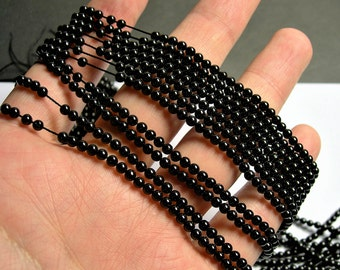 Black Spinel - 3mm round beads -1 full strand - 129 beads - AA Quality - PG60