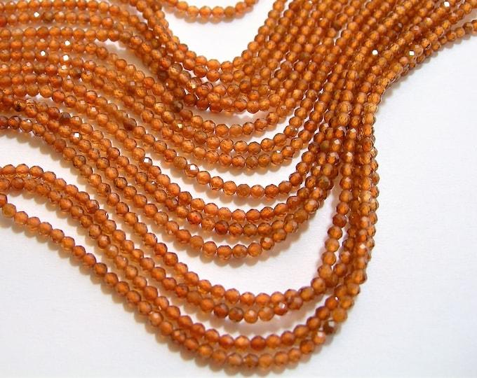 Hessonite Garnet - 2mm faceted round beads - full strand  178 beads - micro facted Hesonite garnet - AA quality - PG81