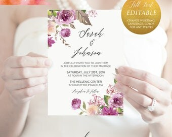 Printable Lilac Purple Floral Wedding Invitation Template, Editable PDF, 5x7 Rustic Wedding Invites, vistaprint, DIY Instant Download #04