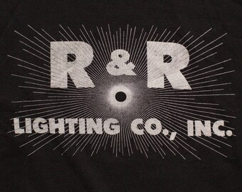 R & R Lighting Co. Inc. T-Shirt, Solar Eclipse Starburst Logo, Vintage 80s, Chino CA, California Company, Sportswear Brand 50/50 Tee, Light