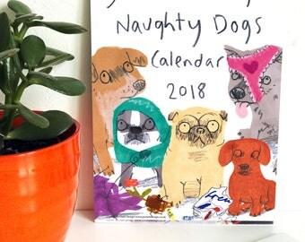 Naughty Dogs Calendar 2018 Wall Hanging Planner Organiser