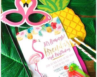 Let's Flamingle Birthday - Printable Invitation