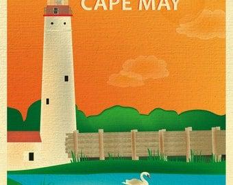 Cape May Skyline Print, Cape May New Jersey art, Cape May Print, Cape May Poster, New Jersey Art, New Jersey Print, style E8-O-CAPE