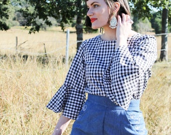 Black Gingham Flounce Blouse - Handmade by Alice - Only 3 made!