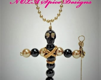 Voodoo Dat We Do New Orleans Black and Gold Fleur de Lis Necklace
