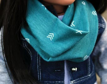 18 Inch Doll Clothes, Jade Green Infinity Scarf, Doll Infinity Scarf Arrows, Girl Doll Clothes