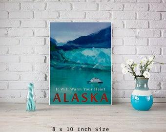 Glacier Bay Alaska Travel Poster 8x10 Size Vintage Style Mountain Art Sea Art Turquoise and Blue