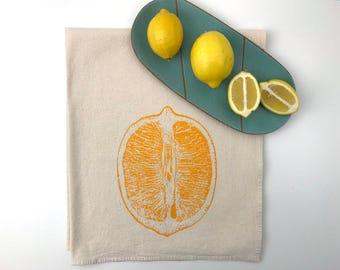 Natural Flour Sack Towel - Lemon Slice - Hand Screen Printed - As Seen in Food Network Magazine