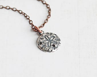 Tiny Silver Plated Sand Dollar Pendant Necklace on Antiqued Copper Plated Chain, Beach Jewelry